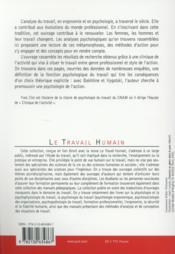 La fonction psychologique du travail (6e édition) - 4ème de couverture - Format classique