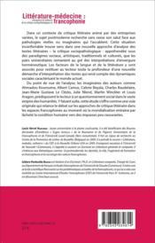 Littérature-médecine : émergence et radiance de la critique sociopathologique en francophonie - 4ème de couverture - Format classique