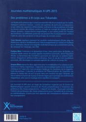 Des Problemes A N Corps Aux Tokomaks Journees Mathematiques X-Ups 2015 - 4ème de couverture - Format classique