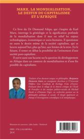 Marx, la mondialisation, le destin du capitalisme et l'Afrique - 4ème de couverture - Format classique