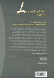 Le syndicalisme salarie - 1ere ed. - 4ème de couverture - Format classique