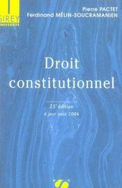 Droit Constitutionnel (25e Edition - Intérieur - Format classique