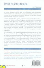Droit Constitutionnel (25e Edition - 4ème de couverture - Format classique