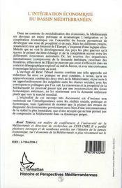 L'Integration Economique Du Bassin Mediterraneen - 4ème de couverture - Format classique