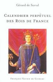 Calendrier perpetuel des rois de france - Intérieur - Format classique