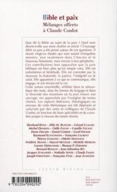 Bible et paix ; mélanges offerts à Claude Coulot - 4ème de couverture - Format classique