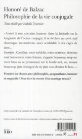Philosophie de la vie conjugale - 4ème de couverture - Format classique