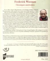 Frederick wiseman - 4ème de couverture - Format classique