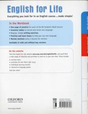 English for life ; elementaryworkbook with key - 4ème de couverture - Format classique