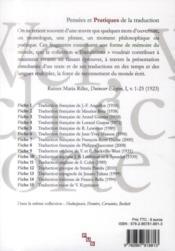 Rilke et la premiere elegie - 4ème de couverture - Format classique
