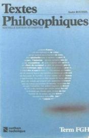 Textes Philoso Terminale Fgh - Couverture - Format classique