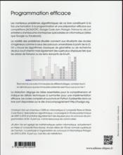 Programmation efficace - 128 algorithmes qu il faut avoir compris et codes en python au cours de sa - 4ème de couverture - Format classique