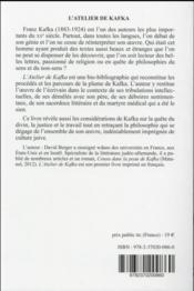 L'atelier de Kafka - 4ème de couverture - Format classique