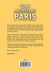 Guide to protestant Paris ; ten excursions to discover the evangelical heritage of Paris - 4ème de couverture - Format classique