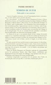 Temoins du futur - philosophie et messianisme - 4ème de couverture - Format classique