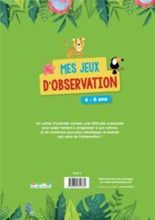 Mes jeux d'observation - 4ème de couverture - Format classique