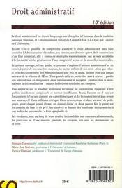 Droit Administratif (10e Edition Universite - 4ème de couverture - Format classique