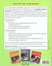 Jeux de sons et de lecture ; cycle 2 ; gs-cp - 4ème de couverture - Format classique