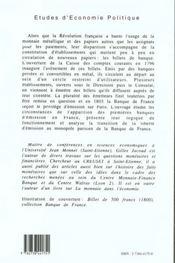 Le Billet De Banque En France 1796 1803 - 4ème de couverture - Format classique