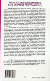 Nouveaux Discours Narratifs Dans L'Espagne Postfranquiste, 1975-1995 - 4ème de couverture - Format classique