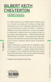 Hérétiques - 4ème de couverture - Format classique