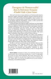 Émergence de l'homosexualité dans la littérature francaise d'André Gide à Jean Genet - 4ème de couverture - Format classique