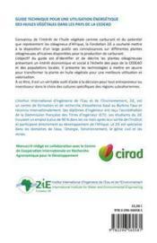 Guide technique pour une utilisation énergétique des huiles végétales de la CEDEAO - 4ème de couverture - Format classique