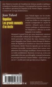 Napoléon ; les grands moments d'un destin - 4ème de couverture - Format classique
