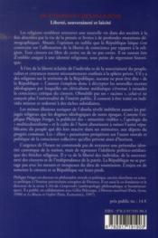 Du citoyen et des religions ; liberté, souveraineté et laïcité - 4ème de couverture - Format classique