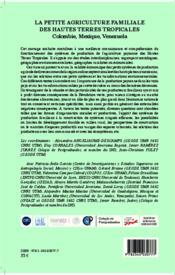 La petite agriculture familiale des hautes terres tropicales ; Colombie, Mexique, Venezuela - 4ème de couverture - Format classique