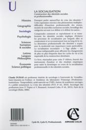 La socialisation ; construction des identités sociales et professionnelles (5e édition) - 4ème de couverture - Format classique
