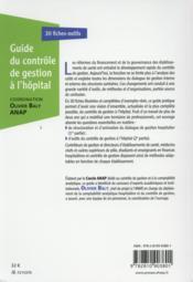 Guide du contrôle de gestion à l'hopital - 4ème de couverture - Format classique