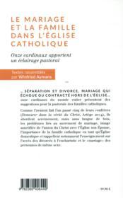 Le mariage et la famille dans l'Eglise catholique - 4ème de couverture - Format classique