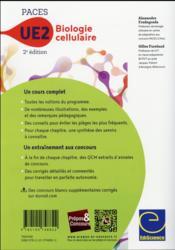 Biologie cellulaire - UE2 paces ; manuel, cours + QCM corrigés (2e édition) - 4ème de couverture - Format classique