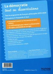La démocratie tout en dissertations ; prépas scientifiques ; programme (édition 2019/2020) - 4ème de couverture - Format classique