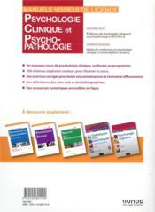 Psychologie clinique et psychopathologie (4e édition) - 4ème de couverture - Format classique