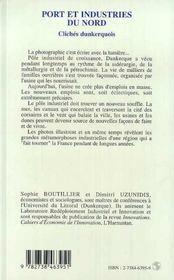 Port Et Industries Du Nord : Cliches Dunkerquois - 4ème de couverture - Format classique