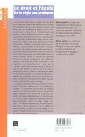 Le droit et l'ecole de la regle aux pratiques - 4ème de couverture - Format classique
