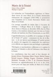 Marie de la Trinité ; union à Dieu et filialité ; mystique et épreuve - 4ème de couverture - Format classique