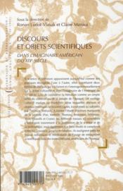 Discours et objets scientifiques ; dans l'imaginaire américain du XIX siècle - 4ème de couverture - Format classique