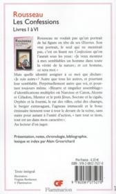 Les confessions t.1 ; livres I à VI - 4ème de couverture - Format classique