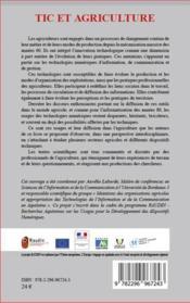 TIC et agriculture ; appropriation des dispositifs numériques et mutations des organisations agricoles - 4ème de couverture - Format classique