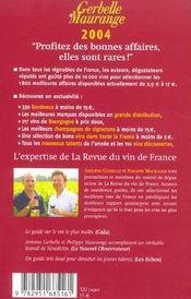 Le guide de meilleurs vins a petits prix ; gerbelle et maurange - 4ème de couverture - Format classique
