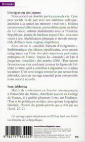 L'intégration des jeunes ; un modèle français (XVIIIe-XXIe siècle) - 4ème de couverture - Format classique