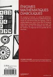 Énigmes mathématiques diaboliques - 4ème de couverture - Format classique