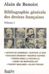 Bibliographie générales des droites françaises t.1 - Couverture - Format classique