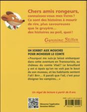 Geronimo Stilton T.3 ; un sorbet aux mouches pour monsieur le comte - 4ème de couverture - Format classique