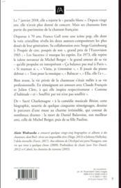 France Gall ; des amours, des chansons et des larmes - 4ème de couverture - Format classique
