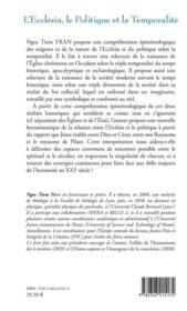 L'ecclésia, le politique et la temporalité - 4ème de couverture - Format classique