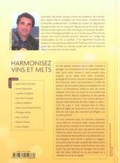 Harmonisez vins et mets ; le nouveau guide des accords parfaits - 4ème de couverture - Format classique